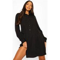 Womens Tall Woven Shirt Drop Hem Dress - Black - 6, Black