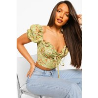 Womens Tall Floral Lace Up Corset Style Crop Top - Green - 12, Green