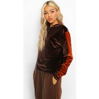 Womens Tall Velour Side Stripe Bomber Jacket - Brown - 10, B