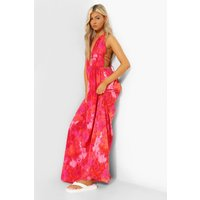 Womens Tall Tie Dye Plunge Front Maxi Dress - Orange - 12, Orange