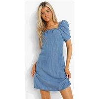 Womens Tall Puff Sleeve Denim Mini Dress - Blue - 14, Blue