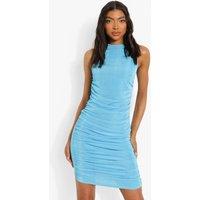 Womens Tall Ruched Side Mini Dress - Blue - 8, Blue