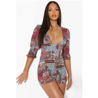 Womens Tall Scarf Print Puff Sleeve Playsuit - Pink - 8, Pink