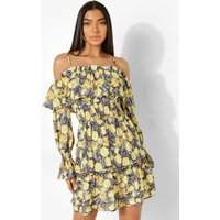 Womens Tall Floral Cold Shoulder Skater Dress - Yellow - 6, Yellow
