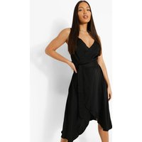 Womens Tall Satin Tie Front Wrap Skater Dress - Black - 10, Black