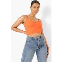 Womens Tall Rib Notch Crop Top - Orange - 12, Orange