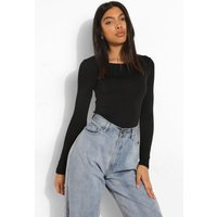 Womens Tall Basic Round Neck Long Sleeve Top - Black - 6, Black