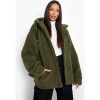 Womens Tall Oversized Contrast Detail Teddy Jacket - Green - 8, Green