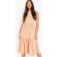 Womens Tall Spot Smock Woven Midi Dress - Orange - 10, Orange