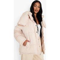 Womens Tall Collar Detail Puffer Jacket - Beige - 10, Beige