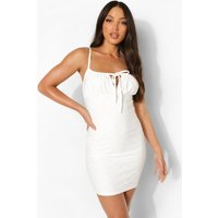 Womens Tall Broderie Ruched Bust Mini Dress - White - 18, White