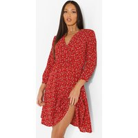 Womens Tall Floral Print Wrap Dress - Red - 6, Red