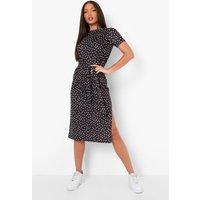Womens Tall Split Belted Polka Dot T-Shirt Dress - Black - 14, Black