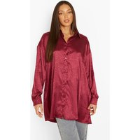 Womens Tall Leopard Satin Oversized Shirt - Red - 16, Red