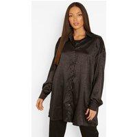 Womens Tall Leopard Satin Oversized Shirt - Black - 14, Black