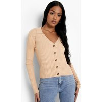 Womens Tall Knitted Rib Collared Cardigan - Pink - Xs, Pink