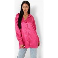 Womens Tall Stripe Satin Oversized Shirt - Pink - 14, Pink