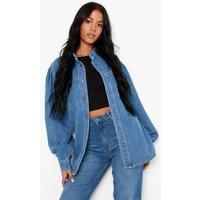 Womens Tall Volume Sleeve Grandad Collar Denim Shirt - Blue - 18, Blue