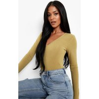Womens Tall V Neck Soft Knit Rib Bodysuit - Green - 6, Green