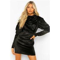Womens Tall Satin Exaggerated Sleeve Mini Dress - Black - 16, Black