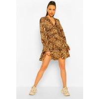 Womens Tall Woven Animal Print Smock Dress - Multi - 18, Multi