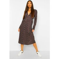 Womens Tall Woven Long Sleeve Polka Dot Midi Dress - Black - 8, Black