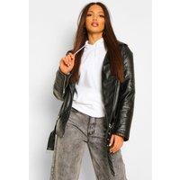Womens Tall Leather Look Pu Biker Jacket - Black - 6, Black
