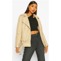 Womens Tall Leather Look Pu Biker Jacket - Cream - 10, Cream