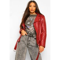 Womens Tall Leather Look Pu Biker Jacket - Red - 12, Red