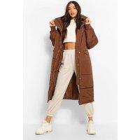 Womens Tall Longline Padded Coat - Brown - 12, Brown