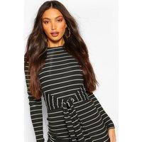 Womens Tall Stripe Rib Tie Front Midi Dress - Black - 14, Black