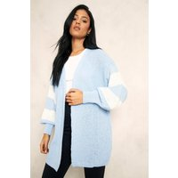 Womens Tall Stripe Balloon Sleeve Cardigan - Blue - Xl, Blue