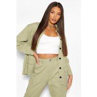 Womens Tall Denim Twill Pocket Oversized Jacket - Green -