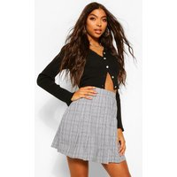 Womens Tall Check Pleated Kilt Mini Skirt - Grey - 12, Grey