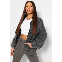 Womens Tall Denim Oversized Bomber Jacket - Grey - 10, Grey