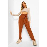 Womens Tall Paperbag Waist Straight Leg Trousers - Brown - 18, Brown