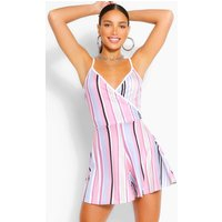 Womens Tall Stripe Flippy Playsuit - Blue - 10, Blue