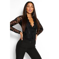 Womens Tall Lace Long Sleeved Body - Black - 12, Black