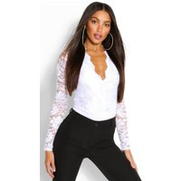 Womens Tall Lace Long Sleeved Body - White - 12, White