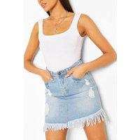 Womens Tall Denim Frayed Hem Mini Skirt - Blue - 10, Blue