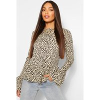 Womens Tall Leopard Print Long Sleeve Top - Brown - 8, Brown