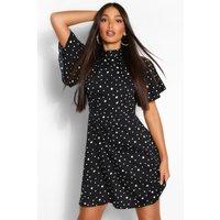 Womens Tall Polka Dot Angel Sleeve Skater Dress - Black - 16, Black