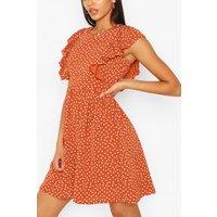 Womens Tall Woven Polka Dot Print Smock Dress - Orange - 16, Orange