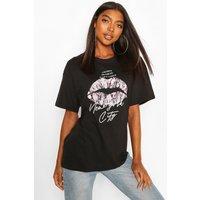 Womens Tall 'New York' Lips Oversized T-Shirt - Black - M, Black