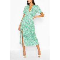 Womens Tall Floral Midi Dress - Green - 10, Green