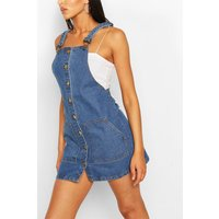Womens Tall Denim Button Through Pinafore Dress - Blue - 8, Blue