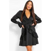 Womens Tall Woven Ruffle Front Tie Waist Skater Dress - Black - 6, Black