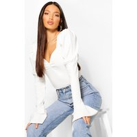 Womens Tall Puff Sleeve Ruched Front Top - White - 14, White