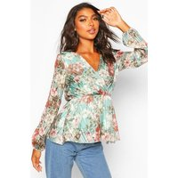 Womens Tall Floral Metallic Wrap Blouse - Green - 12, Green