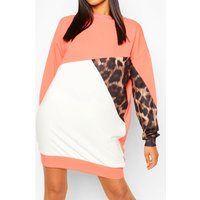 Womens Tall Leopard Colour Block Sweat Dress - Orange - 18, Orange
